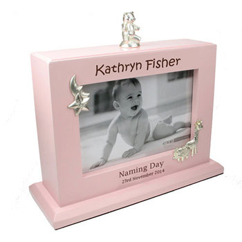 Personalised Girls Naming Day Pink Photo Album and Frame