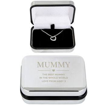 Sterling Silver Heart Necklace in Personalised Chrome Box
