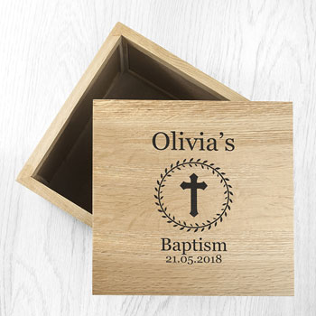Personalised Christening Baptism Cross Oak Photo Cube Box