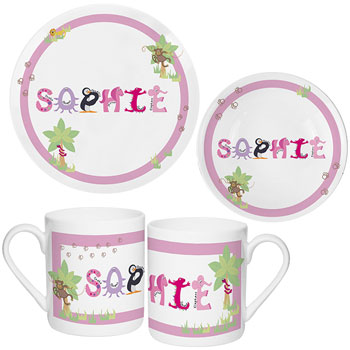 Personalised Animal Alphabet Girls Pink Breakfast Dinner Set