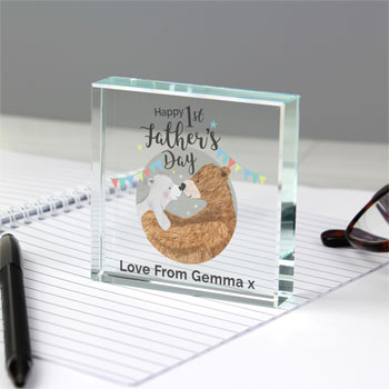 Personalised 1st Fathers Day Daddy Bear Large Crystal Token