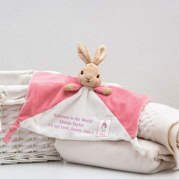 Personalised Flopsy Bunny Beatrix Potter Baby Comforter