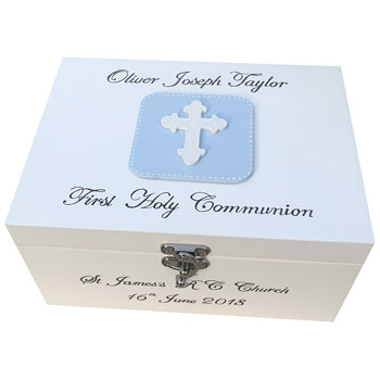 Boys Personalised First Communion Keepsake Box With Cross