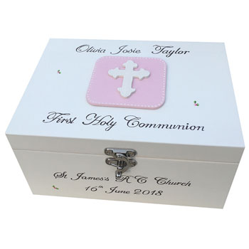 Girls Personalised First Communion Keepsake Box With Cross