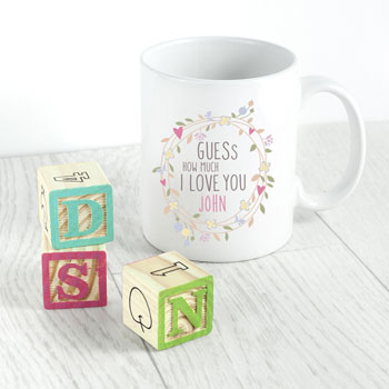 Personalised Guess How Much I Love You Wreath Ceramic Mug