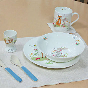 Personalised Woodland Animal 8 Inch Bone China Breakfast Set