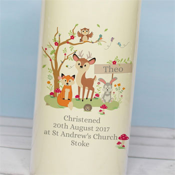 Personalised Woodland Childrens Pillar Candle