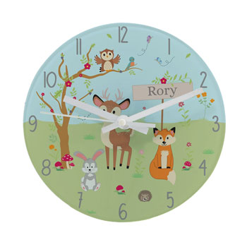 Personalised Woodland Glass Childrens Clock