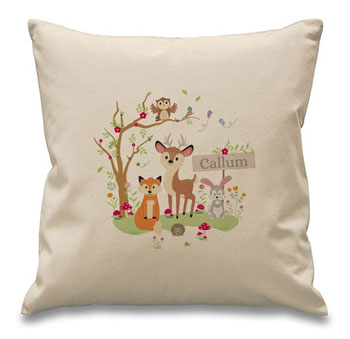 Personalised Woodland Animals Filled Childrens Cushion