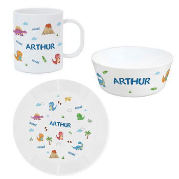 Personalised Dinosaur 4 Piece China Childrens Breakfast Set