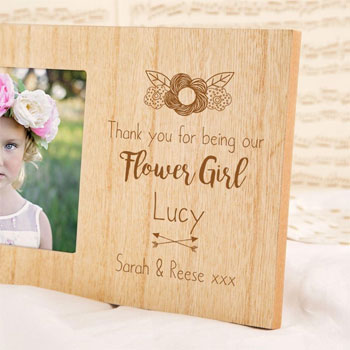 Personalised Flower Girl Engraved Wooden Photo Frame