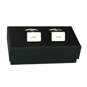 Personalised Engraved Stainless Steel Rectangular Cufflinks