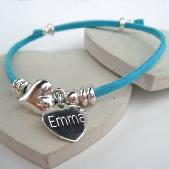 Suede Bracelet With Personalised Sterling Silver Heart Charm