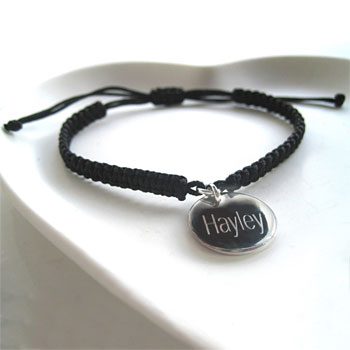 Braided Bracelet With Personalised Silver Plated Disc