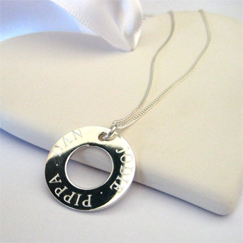 Personalised Engraved Sterling Silver Halo Necklace