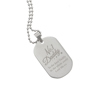 Personalised No.1 Daddy Stainless Steel Dog Tag Necklace