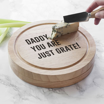 Personalised Cheese Lover Round Board Set & Knives