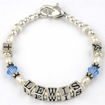 Personalised Silver Name Baby Christening Bracelet