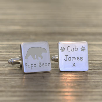 Personalised Papa Bear Silver Plated Cufflinks
