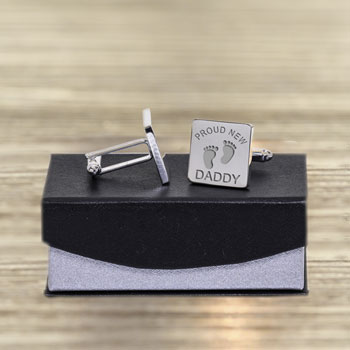 Personalised Proud New Daddy Heart Cufflinks