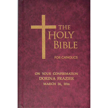 Personalised Childrens Burgundy Coloured Catholic Bible