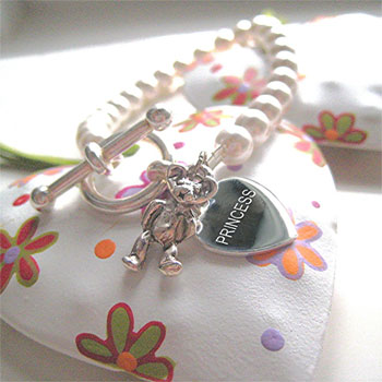 Girls Swarovski Pearl Bracelet With Silver Heart & Charm