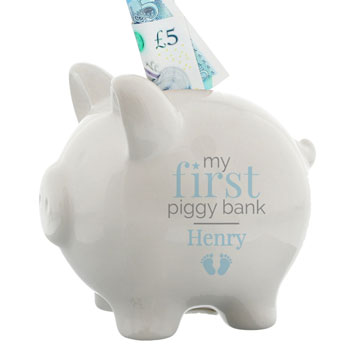 Personalised Blue Boys My First Piggy Bank