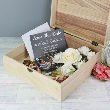 Large Personalised Floral Wooden Keepsake Box