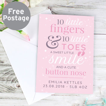 Personalised Ten Little Fingers Pink New Baby Girl Card