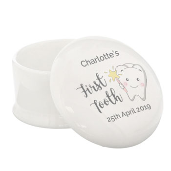 Personalised First Tooth Ceramic Trinket Box