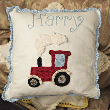 Boys Personalised Crocheted Nursery Cushion