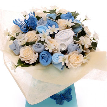 Blue New Baby Boy Clothing Bouquet