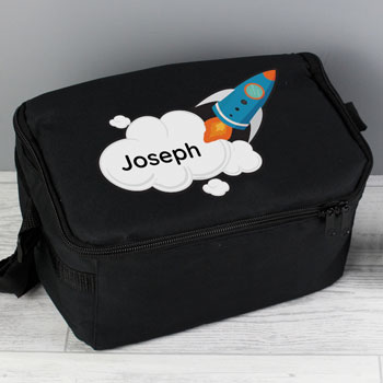 Personalised Rocket Ship Insulated School Lunch Bag