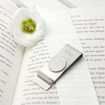 Personalised Silver Plated Lucky Sixpence Money Clip