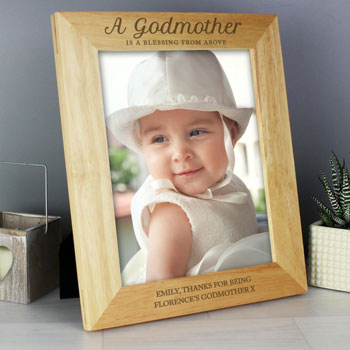 Personalised Godmother 8x10 Inch Wooden Photo Frame
