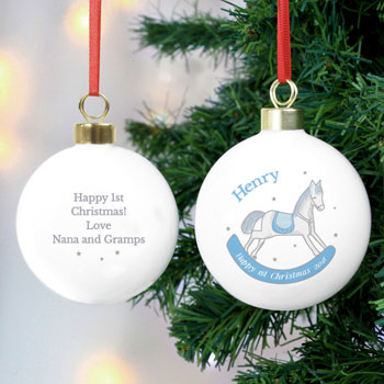Personalised 1st Christmas Blue Rocking Horse Ceramic Bauble