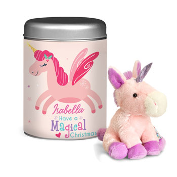Magical Christmas Unicorn Teddy in a Personalised Tin
