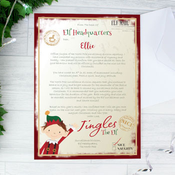Personalised Elf Surveillance Christmas Letter