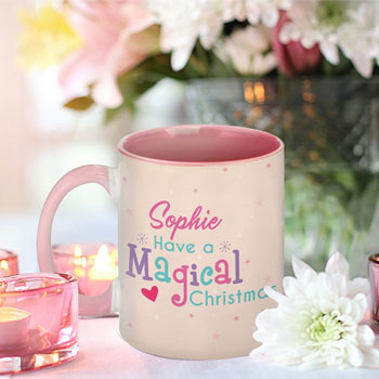 Magical Christmas Personalised Pink Mug & Unicorn Teddy