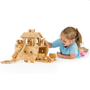 Fair Trade Junior Natural Wooden Noahs Ark Playset