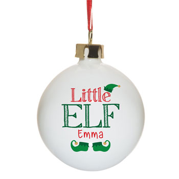 Personalised Little Elf Bauble