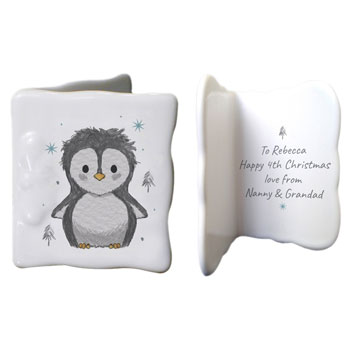 Personalised Pebbles the Penguin Bone China Christmas Card