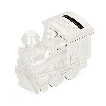 Engraved Silver Plated Train Money Box