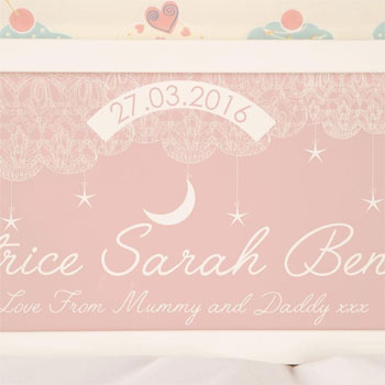 Personalised Baby Pink Starry Sky Framed Name Print