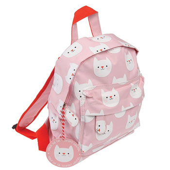 Personalised Girls Pink Cat Backpack School Nursery Bag