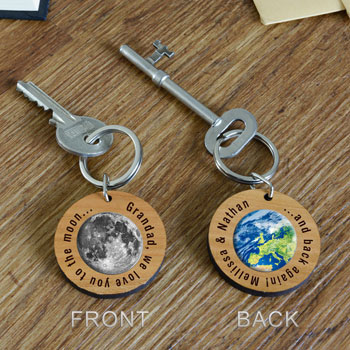 Personalised Wooden Moon & Back Key Ring