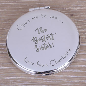 Personalised Silver Plated Round Bestest Compact Mirror