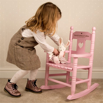 Girls Personalised Pink Wooden Toddler Rocking Chair