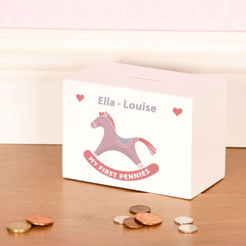 Personalised Baby Girl Wooden Rocking Horse Money Box