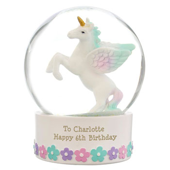 Personalised Unicorn Snow Globe